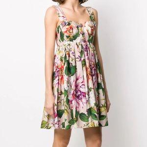 Dolce&Gabbana short floral-print poplin dress